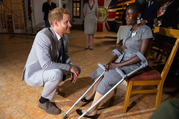 Prince Harry meets with Tigica as part of the Duke and Duchess of Sussex's royal