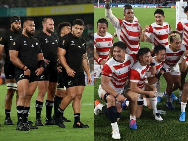 オールブラックス(左)と日本代表(右)