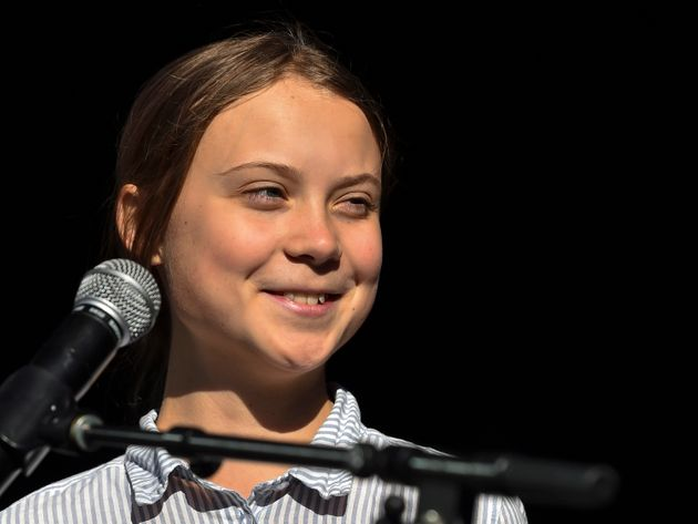 Swedish climate activist Greta Thunberg takes to the podium to address young activists and their supporters...