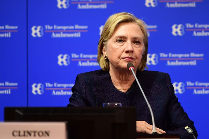 """Former Secretary of State Hillary Clinton, pictured here at the Ambrosetti International Economic Forum in Italy earlier this month,compared her 2016 presidential defeat to """"losing to a corrupt human tornado."""""""