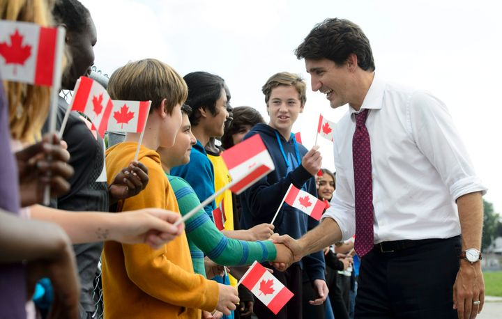 Liberal Leader Justin Trudeau  greets grade 7 and 8 students as he makes a campaign stop at Blessed Sacrament Catholic Elementary School in London, Ont., on Sept. 16, 2019.