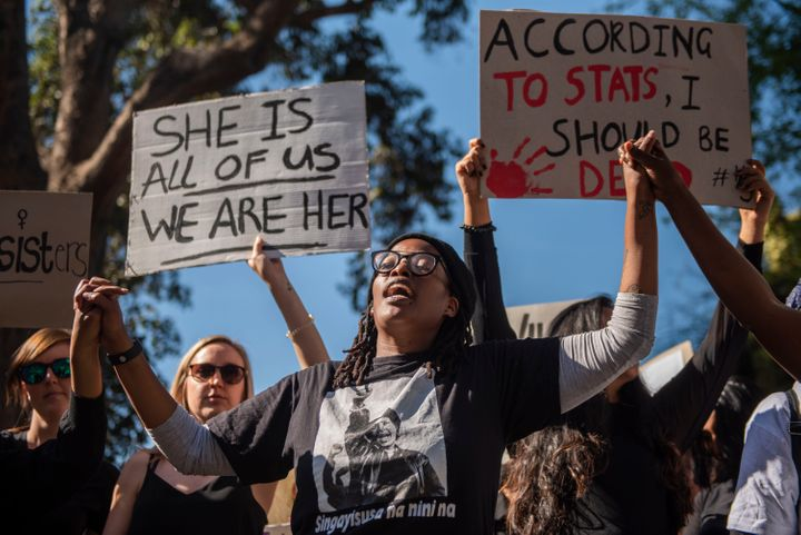 Protesters march against gender-based violence in Sandton, South Africa on Sept. 13.