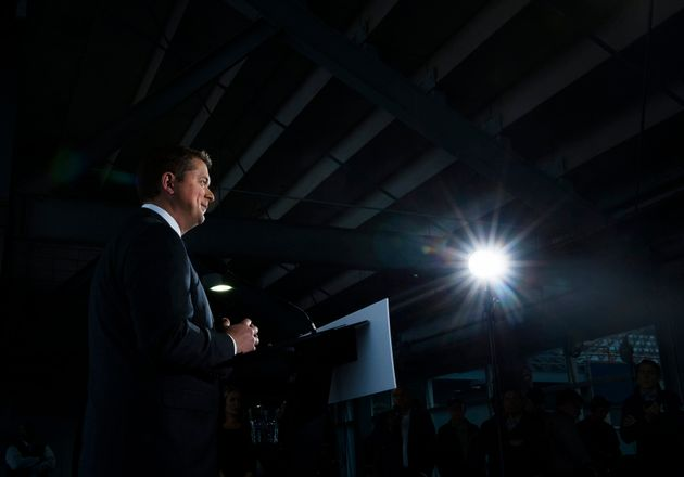 Federal Conservative leader Andrew Scheer makes a announcement at a campaign stop in Montreal on