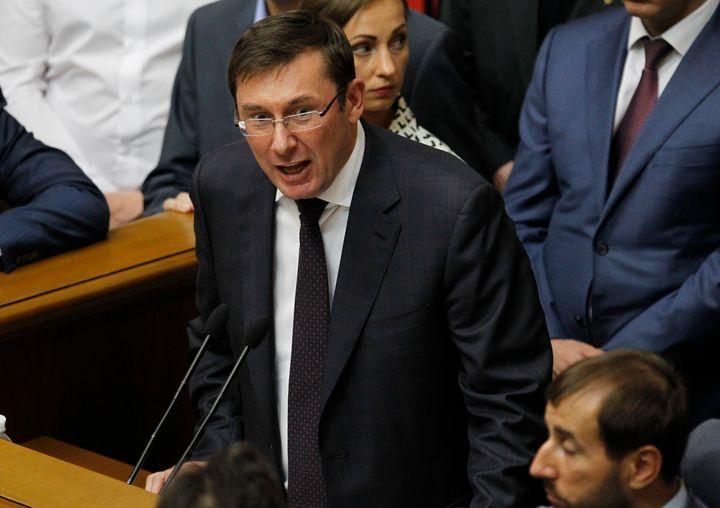 Yuriy Lutsenko speaks at a session of the Ukrainian parliament in Kiev, Ukraine, in 2016.