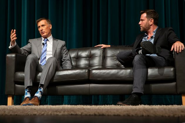 People's Party Leader Maxime Bernier, left, talks with American political commentator Dave Rubin in Hamilton,...