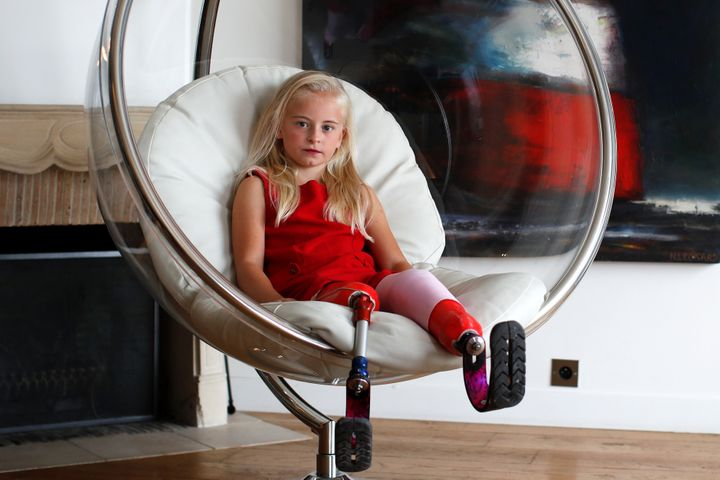 Daisy-May poses for a photograph a day before the show of luxury children's wear label Lulu et Gigi in Paris, France.