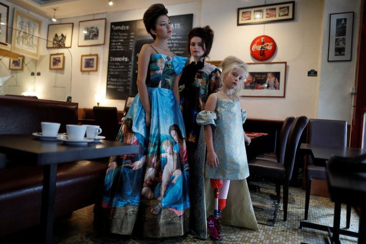 Daisy-May modelling a Lulu et Gigi gown in Paris.