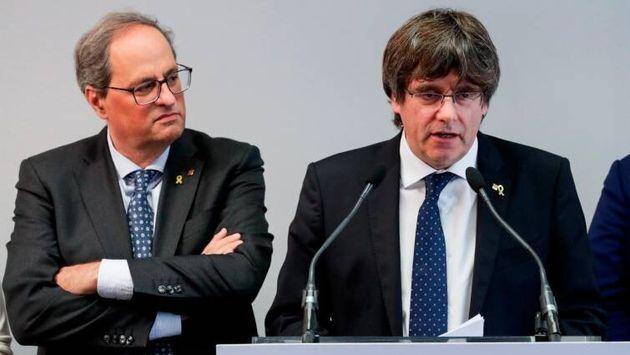 Quim Torra y Carles Puigdemont este mes en