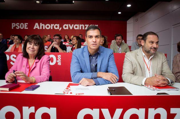 El secretario general del PSOE, Pedro Sánchez (c), reúne este sábado a su Comité