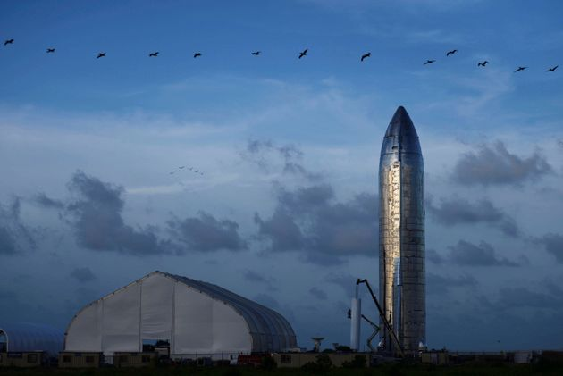A prototype of SpaceX's Starship spacecraft is seen before SpaceX's Elon Musk gives an update on the...