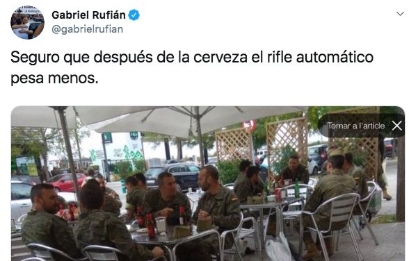 La imagen de unos militares publicada por Gabriel