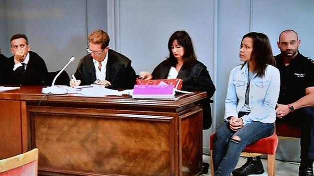 Fotografía realizada al monitor de televisión de la sala de prensa de la Audiencia Provincial de Almería...
