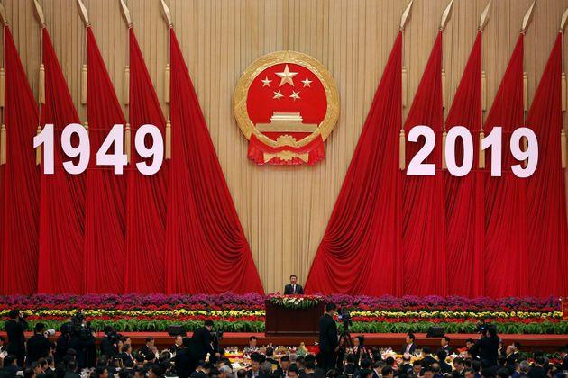 El presidente chino Xi Jinping, este lunes, en la cena del 70 aniversario de la República Popular...