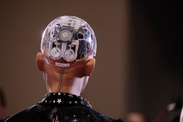 A robot called Sophia is seen during an exhibition in Toronto on April 30,