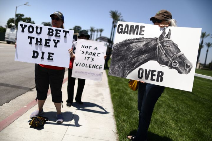 Animal rights activists protest horse racing deaths outside Santa Anita Park in Arcadia back in June. More than 30 horses hav