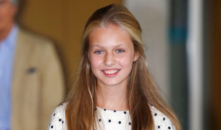 La princesa Leonor a la salida de su visita al rey Juan Carlos I el pasado mes de agosto en el Hospital Quirón.