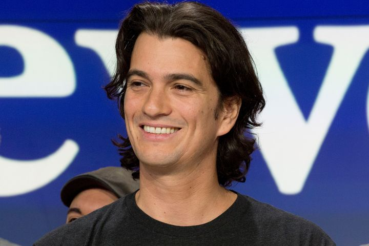 In this Jan. 16, 2018 file photo, Adam Neumann, co-founder and CEO of WeWork, attends the opening bell ceremony at Nasdaq, in
