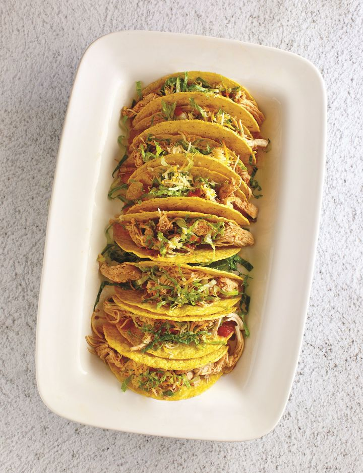 These Salsa Chicken Tacos can be made with fresh or frozen chicken breasts.