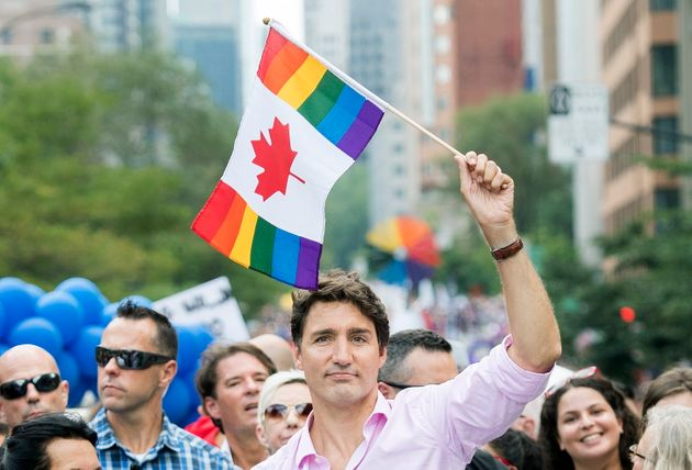 Liberal Leader Justin Trudeau attends the annual pride parade in Montreal on Aug. 18,