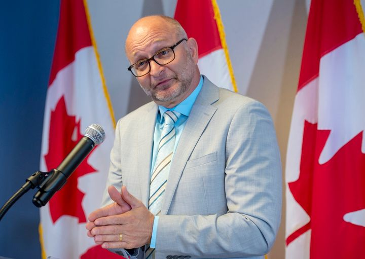 David Lametti speaks to the reporters at a press conference on Aug. 1, 2019 in Montreal.