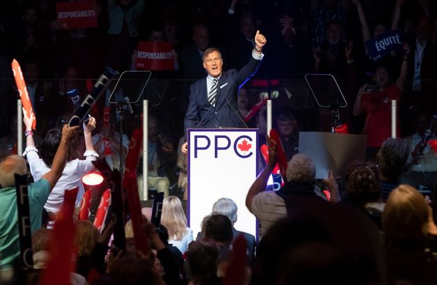 Maxime Bernier, leader of the People's Party of Canada, gives the thumbs up at the end of his speech...