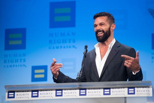 Ricky Martin em discurso durante23º edição do jantar daHuman Rights Campaign National, emWashington, nos Estados Unidos.