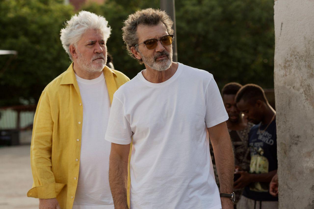 "Pedro Almodóvar and Antonio Banderas on the set of ""Pain and Glory."""
