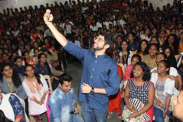 The Shiv Sena's Aaditya Thackeray at self-defence training camp in Mumbai.