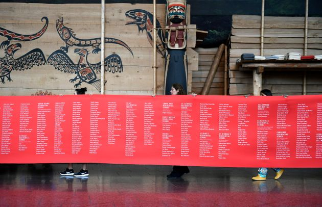 A ceremonial cloth with the names of 2,800 children who died in residential schools and were identified...