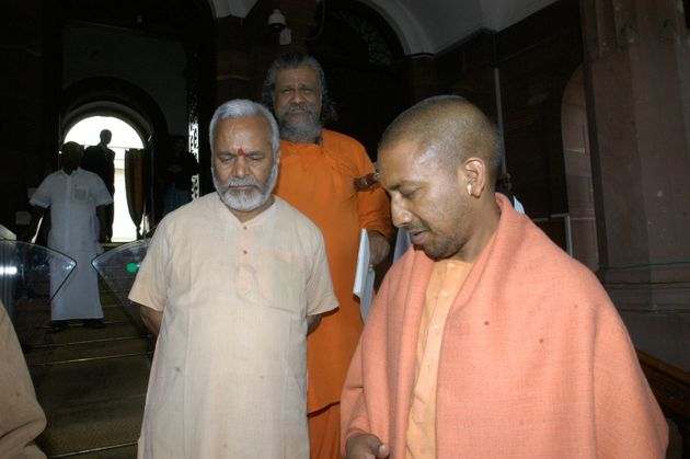 Swami Chinmayanand at Parliament House in New Delhi,