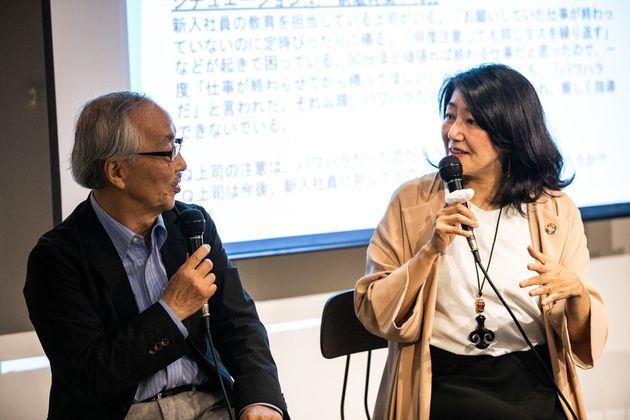 「職場のハラスメント研究所」代表の金子雅臣さん(左)と相模女子大学客員教授・ジャーナリストの白河桃子さん(右)
