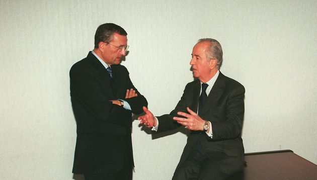Francois Leotard et Edouard Balladur, ici avant un meeting en 1995, seront bientôt jugés...
