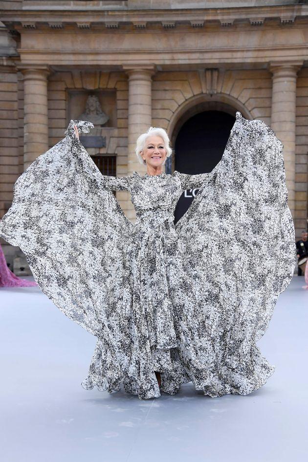 Dame Helen Mirren on the L'Oréal runway during Paris Fashion