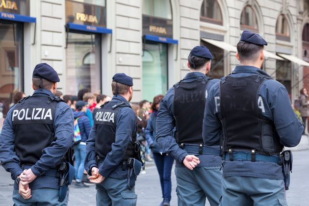 Florence, Italy - April 02 2019: Policemen in bulletproof vest near a the