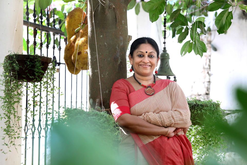 KR Meera photographed at her home in Kottayam in 2016 in