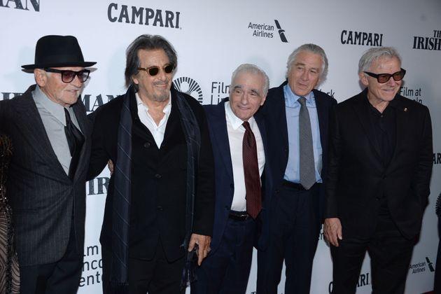 NEW YORK, NEW YORK - SEPTEMBER 27: Joe Pesci, Al Pacino, Martin Scorsese, Robert De Niro and Harvey Keitel...