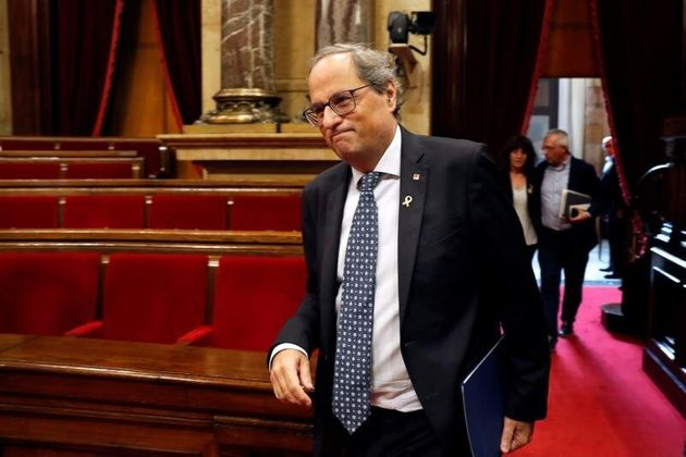 El presidente de la Generalitat, Quim Torra, en el pleno del
