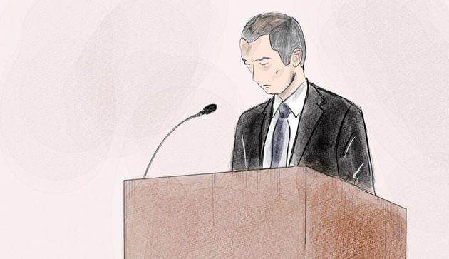 証言台に立った船戸雄大被告=2019年10月1日、東京地裁