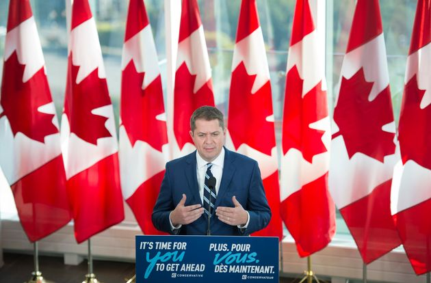 Conservative Leader Andrew Scheer addresses the media during a Tuesday morning news conference in
