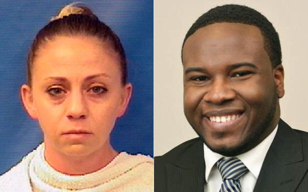 A split picture showing Amber Guyger's mugshot on the left and Botham Jean on the