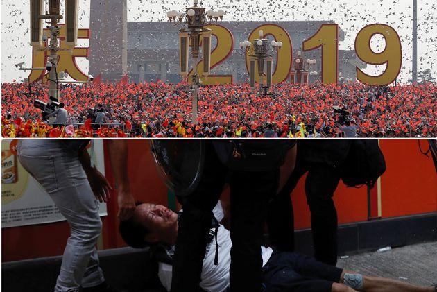 Parata a Pechino, scontri a Hong