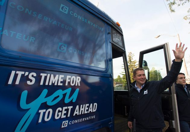 Conservative Leader Andrew Scheer makes a campaign stop in a neighbourhood in Brampton, Ont., on Sept....