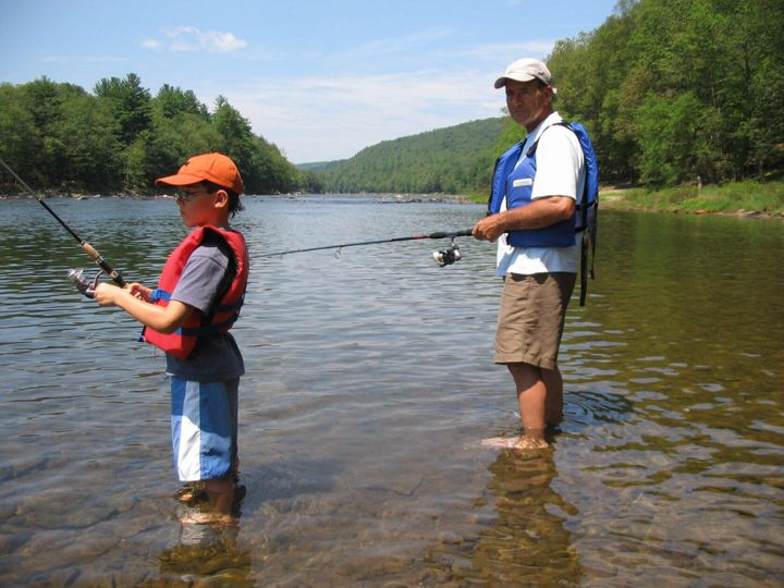 Cameron and his grandad on a fishing trip along the Delaware River in July 2006.