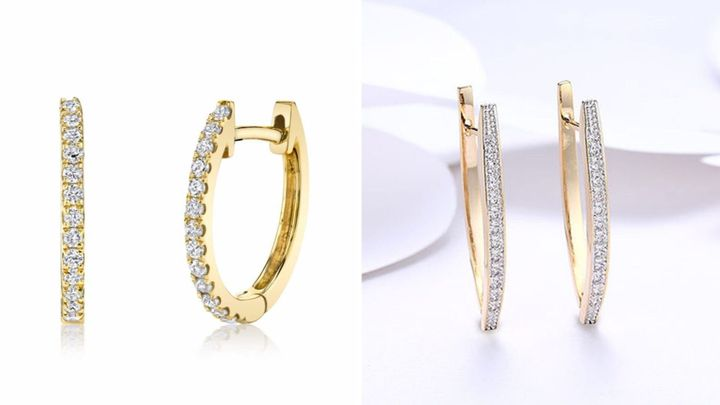 "Left: Meghan Markle's Anita Ko huggie earrings. Right: Lookalike <strong><a href=""https://www.huffpoststuff.com/sales/swarovski-crystal-micro-pav-e-curved-huggie-earrings-in-18k-plated-gold?utm_source=huffpost.com&amp;utm_medium=referral&amp;utm_campaign=swarovski-crystal-micro-pav-e-curved-huggie-earrings-in-18k-plated-gold&amp;utm_term=scsf-338131&amp;utm_content=a0x1P000004Mbbx&amp;scsonar=1"" target=""_blank"" rel=""noopener noreferrer"">Swarovski Crystal huggie earrings</a></strong>."
