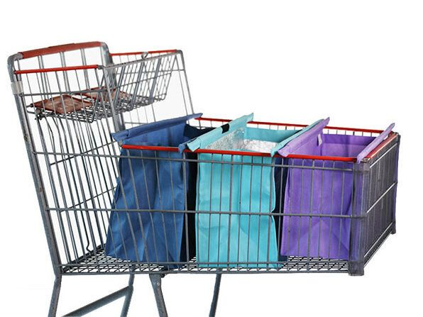 These trolley bags sit upright in your cart with the help of removable poles.