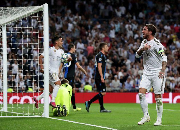 Sergio Ramos celebra el primer gol del Real