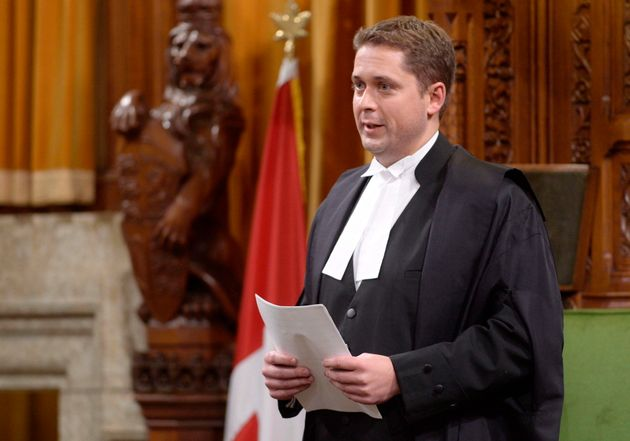 Speaker of the House Andrew Scheer rises in the Commons on Parliament Hill in Ottawa on Oct. 23,