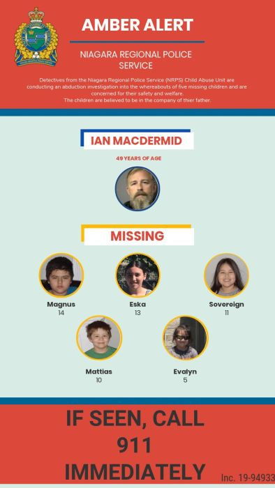 A photo composite of the five MacDermid childen and their father, Ian, who police suspect took them.