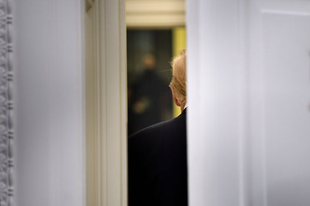 US President Donald Trump leaves after a swearing-in for US Secretary of Labor Eugene Scalia in the Oval...