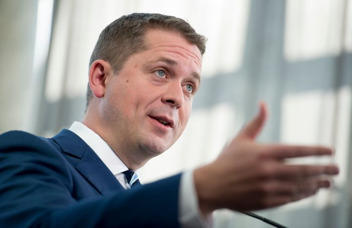 Conservative Leader Andrew Scheer addresses the media during a morning announcement in Toronto on Oct. 1, 2019.